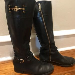 Tory Burch Black Leather Riding boot size 7
